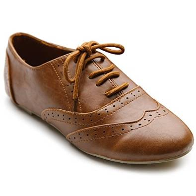 Womens Leather Shoes Low Heel Brown Interesting
