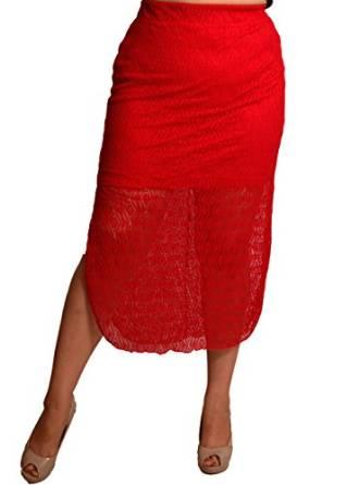 best red crochet skirt