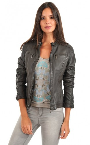 Grey Leather Jacket Womens | Outdoor Jacket