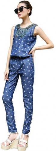 denim printed jumpsuit 2015