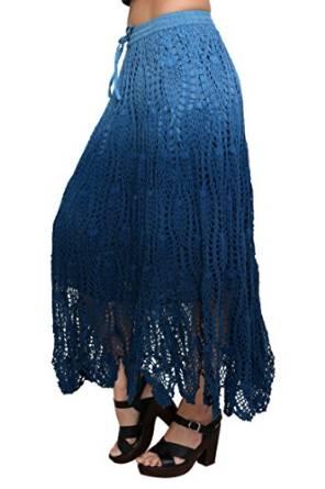 blue crochet skirt