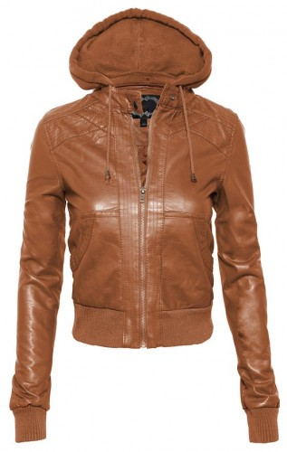 2016 leather bomber jacket with hood for women
