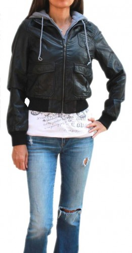 best faux leather bomber jacket with hood